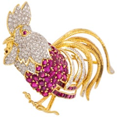18 Karat Gold, Diamond and Ruby Rooster Brooch