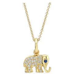 18 Karat Gold, Diamond and Sapphire Elephant Charm Pendant Necklace 'Queenie'