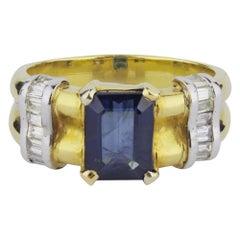 18 Karat Gold, Diamond and Sapphire Ring