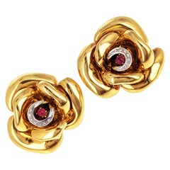 18 Karat Gold Diamond and Tourmaline Rose Earrings