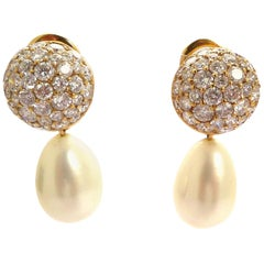 18 Karat Gold Diamond and White Pearl Earrings