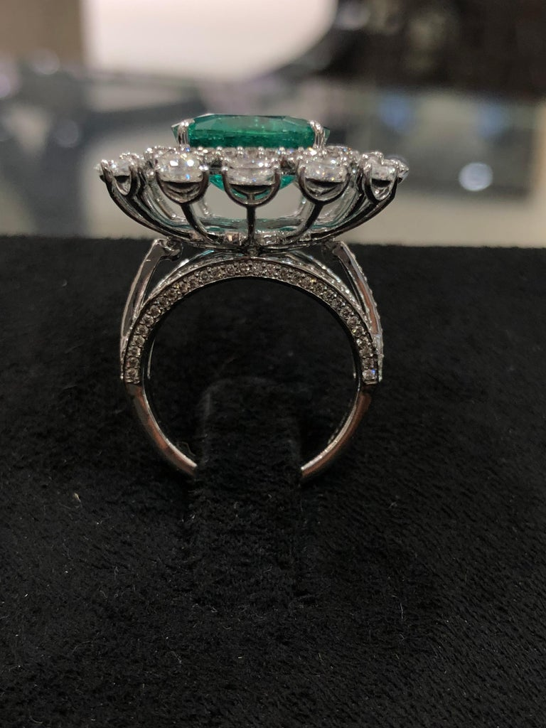 Cushion Cut  Emerald 18k Gold White Diamond Cocktail Ring For Sale