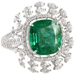 18 Karat Gold, Diamond and Zambian Emerald Cocktail Ring