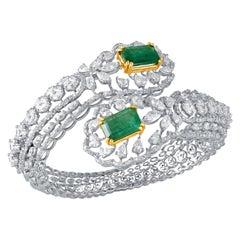 Emerald Diamond 18k Gold Cuff Bracelet