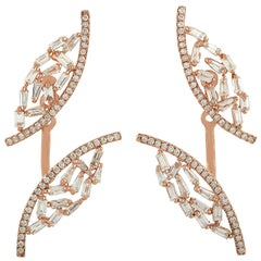 18 Karat Gold Diamond Baguette Ear Jackets Earrings