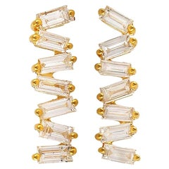 18 Karat Gold Diamond Baguette Stud Earrings