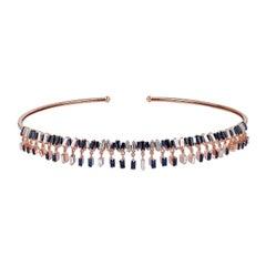 18 Karat Gold Diamond Blue Sapphire Choker Necklace
