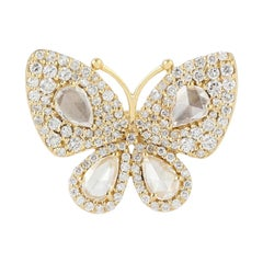 18 Karat Gold Diamond Butterfly Ring