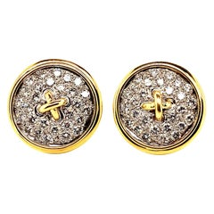 18 Karat Gold Diamond Button Motif Earrings