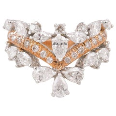 18 Karat Gold Diamond Chevron Engagement Ring