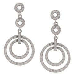 18 Karat Gold Diamond Circle Drop Earrings