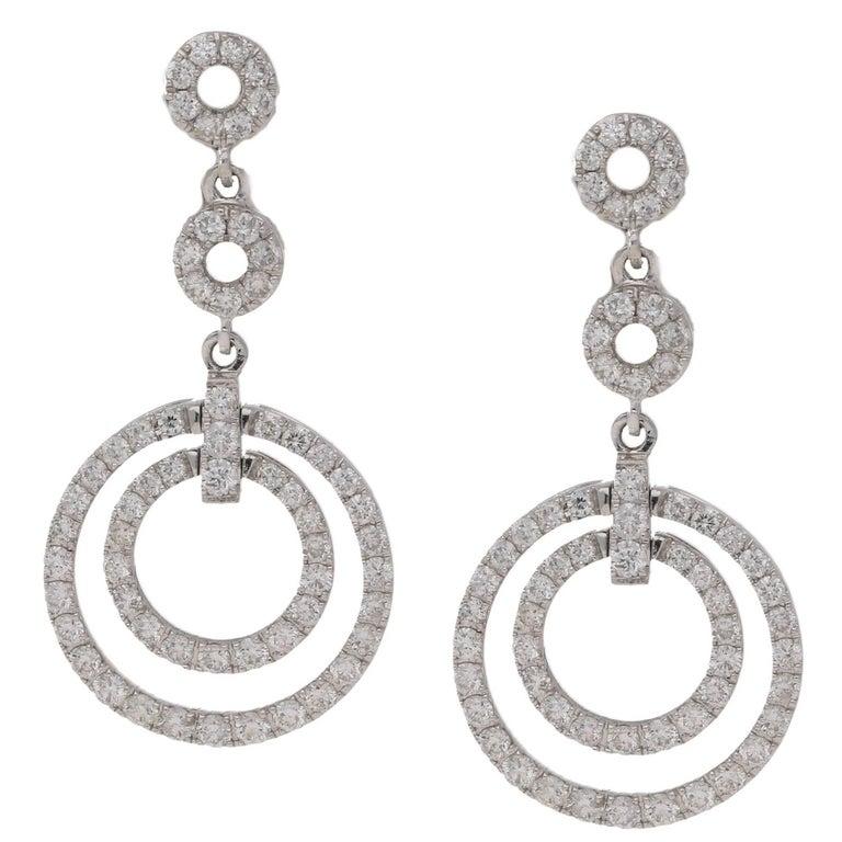 18 Karat Gold Diamond Circle Drop Earrings