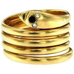 18 Karat Gold Diamant umwickelter Schlangen Ring