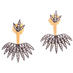 18 Karat Gold Diamond Ear Jacket Palm Leaf Earrings