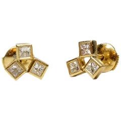 18 Karat Gold Diamond Earrings, Cluster Stud Earrings