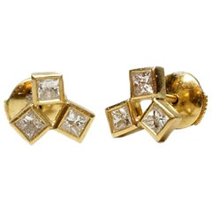 18 Karat Gold Diamond Earrings, Cluster Stud Earrings