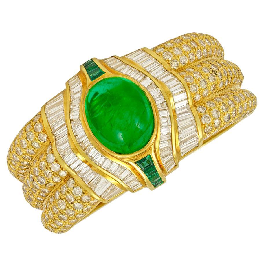 18 Karat Gold Diamond, Emerald Cuff Bracelet