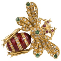18 Karat Gold Diamond Emerald Ruby Bee Pin Brooch Pendant
