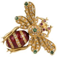 18 Karat Gold Diamond Emerald Ruby Bee Pin Brooch Pendant