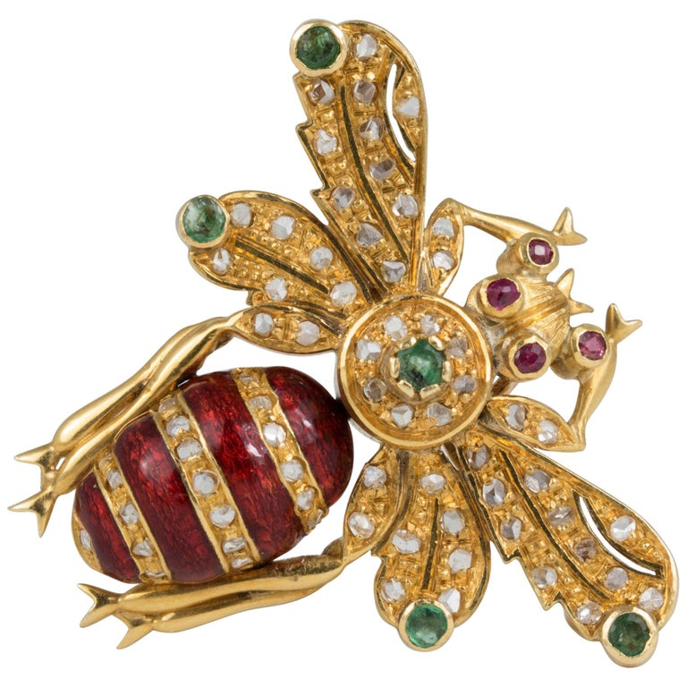 18 Karat Gold Diamond Emerald Ruby Bee Pin Brooch Pendant For Sale