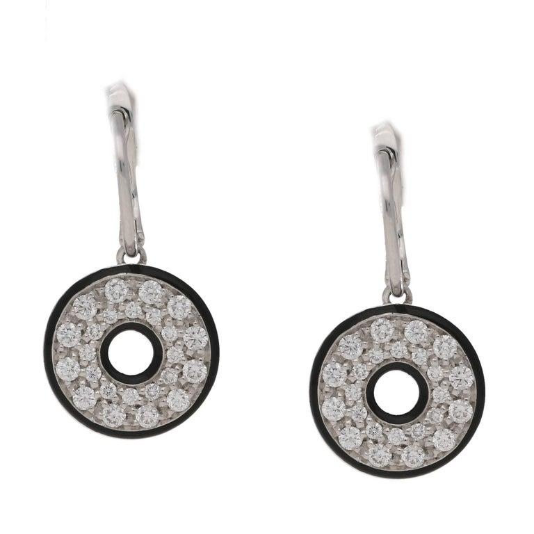 18 Karat Gold Diamond Enamel Circle Drop Earrings