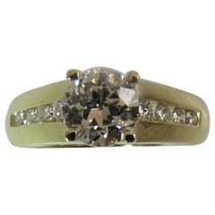 18 Karat Gold Diamond Engagement Ring Set with 1.22 Carat Round Diamond by Nova