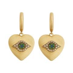 18 Karat Gold & Diamond Eye Love Hoops