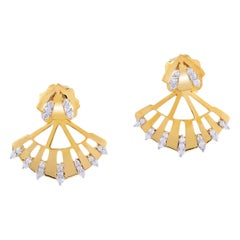 18 Karat Gold Diamond Fan Ear Jacket Earrings