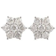 Diamond 18 Karat Gold Floral Stud Earrings