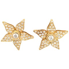18 Karat Gold Diamond Flower Pair of Earrings Made in Italy with Box