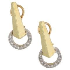 Diamond Geometric Earrings in 18 Karat Yellow and White Gold