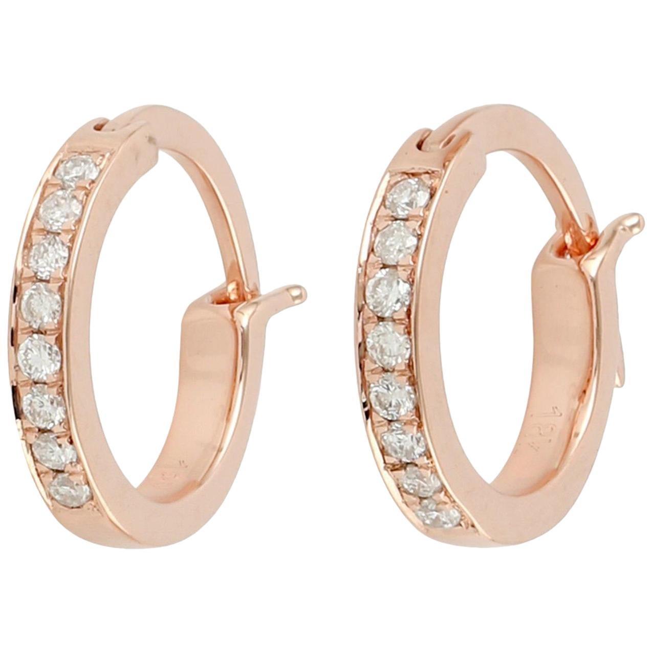 18 Karat Gold Diamond Gold Huggie Hoop Earrings