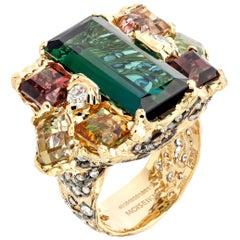 18 Karat Gold Diamond Green Tourmaline Sapphire Handmade Ring in Starry Night