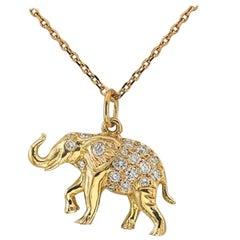 18 Karat Gold Diamond Happy Elephant Pendant Necklace