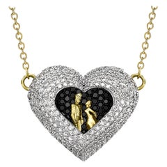 18 Karat Gold Diamond Heart Jewellery Fashion Pendant Necklace