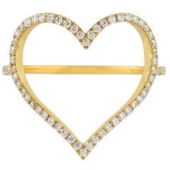 18 Karat Gold Diamond Heart Love Ring