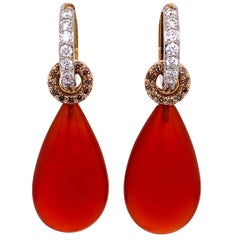 18 Karat Gold Diamond Hoops with Champagne Diamond Circles and Carnelian Jackets
