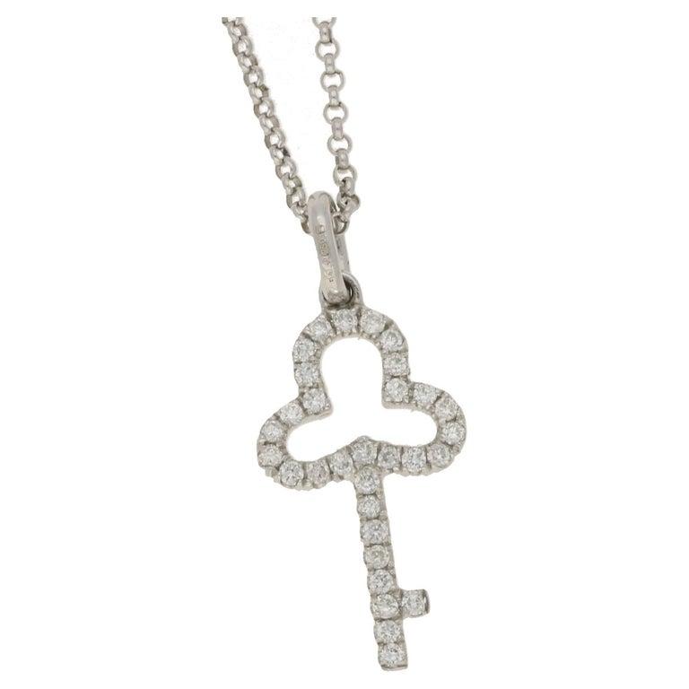 18 Karat Gold Diamond Key Pendant