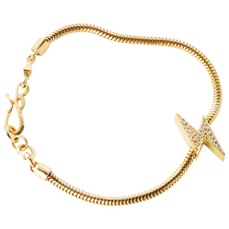 18 Karat Gold Diamond Lightening Bolt Snake Chain Bracelet