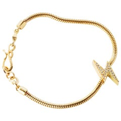 18 Karat Gold Diamond Lightening Bolt Snake Chain Bracelet