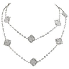 18 Karat Gold Diamond Long Necklace, 21.5 Carat