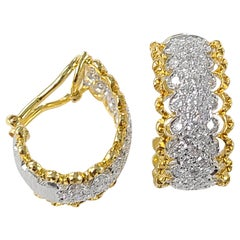 18 Karat Gold Diamond Loop Earrings