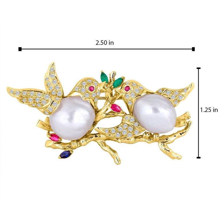 Women's 18 Karat Gold Diamond Love Dove Brooch For Sale