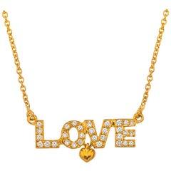 18 Karat Gold Diamond Love Necklace