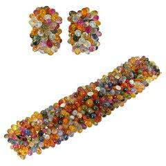 18 Karat Gold Diamond, Multi-Color Sapphire Briolette Bracelet and Earrings