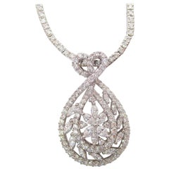 18 Karat Gold Diamond Necklace with Removable 18 Karat Diamond Teardrop Pendant