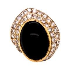 18 Karat Gold Diamond Opal Cocktail Ring