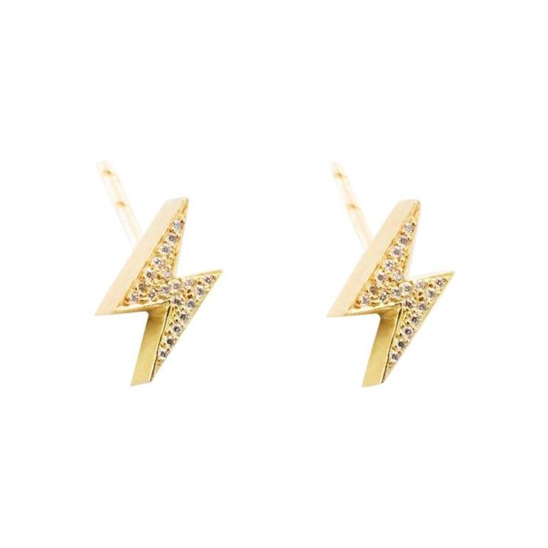 18 Karat Gold Diamond Pave Lightening Bolt Earrings For Sale
