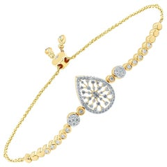 18 Karat Gold Diamond Pear Snowflakes Bracelet