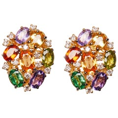 18 Karat Gold Diamond Peridot Garnet Amethyst and Sapphire Cluster Earrings
